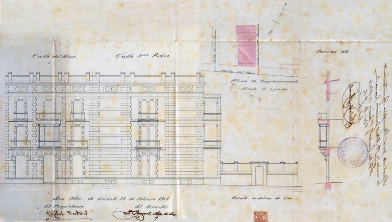 Plànol de la façana de la casa Ribot, 1904. Arxiu Municipal de Sant Feliu de Guíxols.