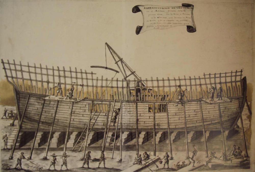 Navili en construcció. Làmina de l'Àlbum del Marqués de la Victoria. Generalitat de Catalunya. Museu d'Arqueologia de Catalunya (Girona).