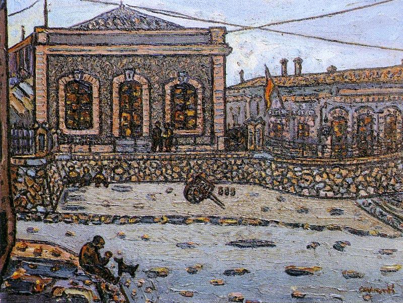 L'estació. 1960. Oli/tela. 51 x 61 cm. Museu d'Història de la Ciutat. Sant Feliu de Guíxols