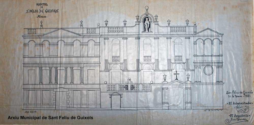 Plànol de la façana. Gener de 1922. Autor: Arquitecte Joan Bordàs. Arxiu Municipal de Sant Feliu de Guíxols.