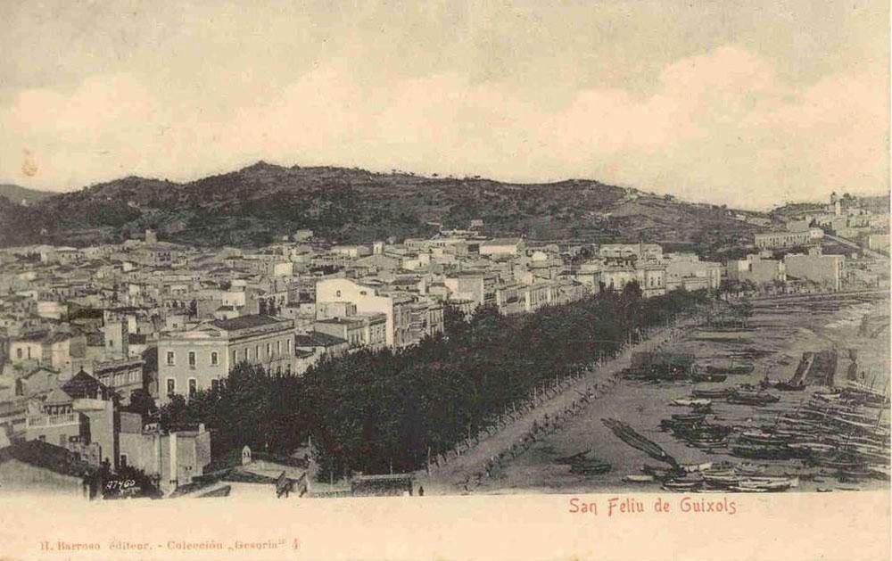 Vista del passeig del Mar cap al 1900 AMSFG. Col·lecció Municipal d'Imatges (Editor: H. Barroso)