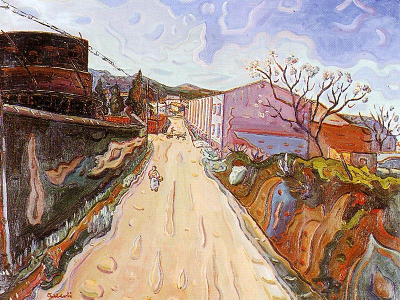 Carretera vella de Palamós. 1958. Oli/tela. 64 x 81 cm. Museu d'Història de la Ciutat. Sant Feliu de Guíxols.
