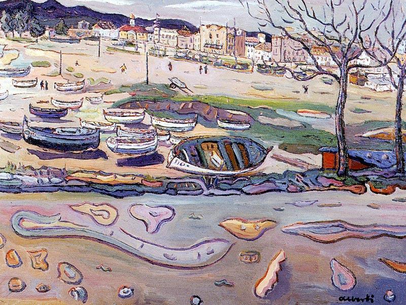 Platja de Sant Feliu. 1957. Oli/tela. 55 x 73 cm. Museu d'Història de la Ciutat. Sant Feliu de Guíxols.