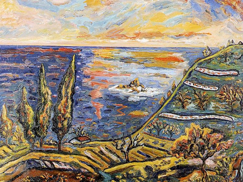 Arbres, esculls i reflexos. 1983. Oli/tela. 73 x 92 cm. Museu d'Història de la Ciutat. Sant Feliu de Guíxols.