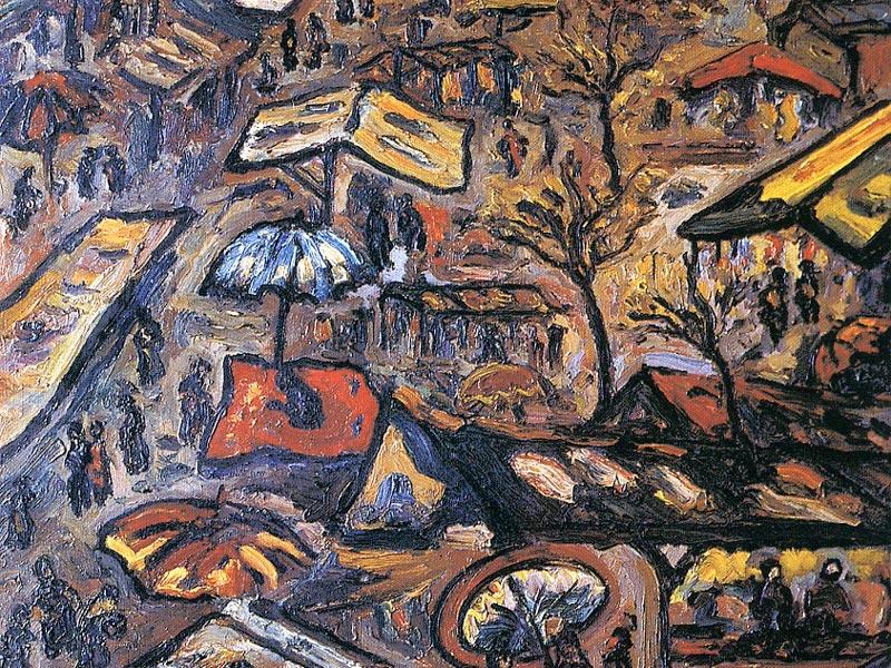 Mercat. 1977. Oli/tela. 92 x 73 cm. Museu d'Història de la Ciutat. Sant Feliu de Guíxols.