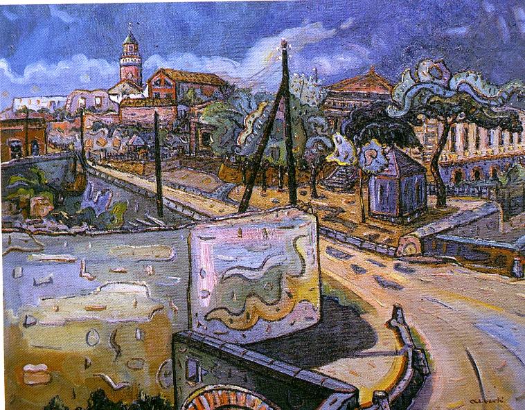 Barri de l'estació. 1958. Oli/tela. 50 x 61 cm. Museu d'Història de la Ciutat. Sant Feliu de Guíxols