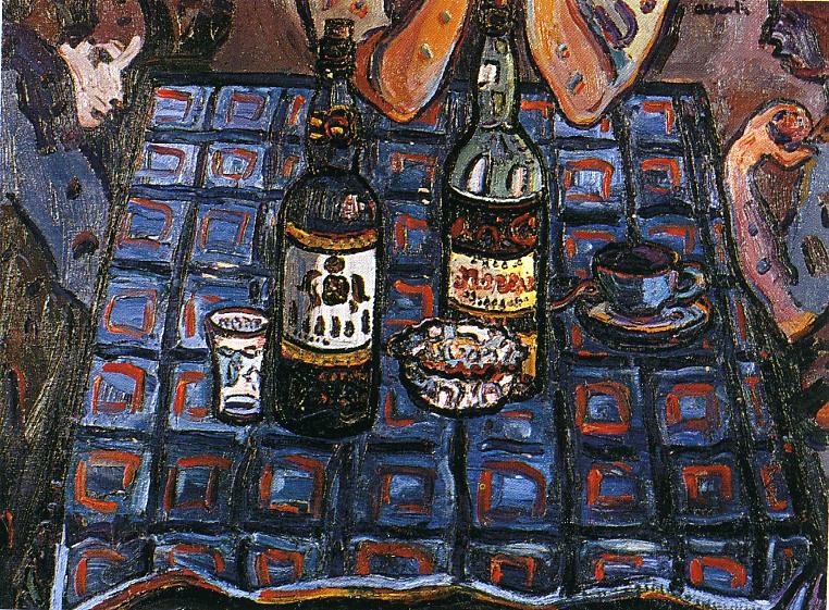 Taula de bar. ca. 1960. Oli/tela. 54 x 65 cm. Museu d'Història de la Ciutat. Sant Feliu de Guíxols