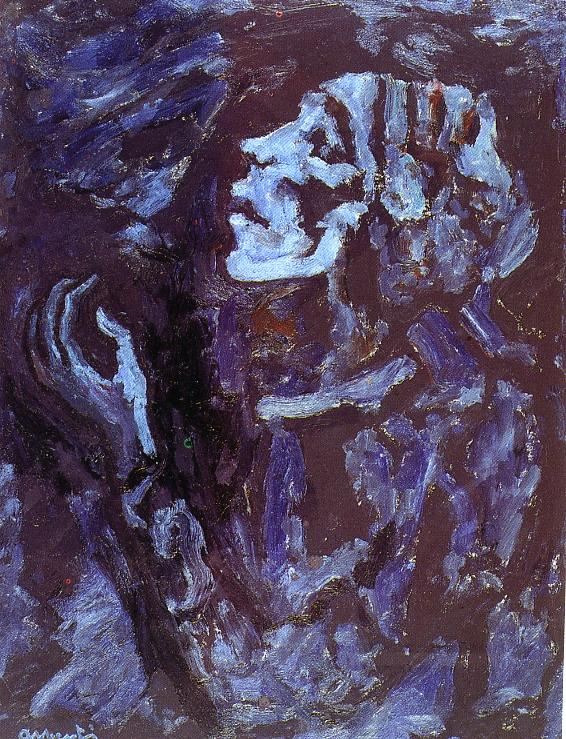 Súplica. 1983. Oli/tela. 63 x 49 cm. Museu d'Història de la Ciutat. Sant Feliu de Guíxols.