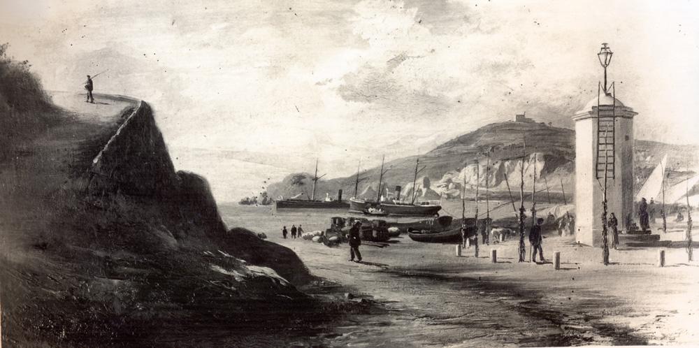 AMSFG. Fons Santiago Güitó. Autor: Desconegut. Quadre del pintor Pons Martí representant el racó de llevant. A la dreta, el llum de petroli que servia de far als mariners (1850 – 1900).