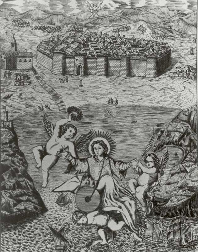 Gravat del segle XVII que representa el martiri de Sant Feliu, reproduït per Benet Albertí AMSFG. Col·lecció Municipal d'Imatges (Autor desconegut)