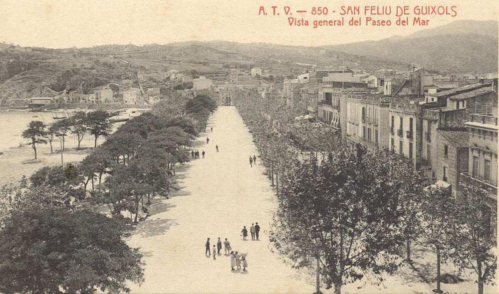 Vista del passeig del Mar a principis del segle XX AMSFG. Col·lecció Espuña-Ibáñez (Autor: desconegut)