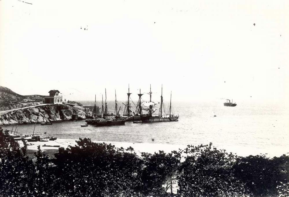 Velers fondejats al racó de Llevant a finals del segle XIX AMSFG. Col·lecció Espuña-Ibáñez (Autor: desconegut)