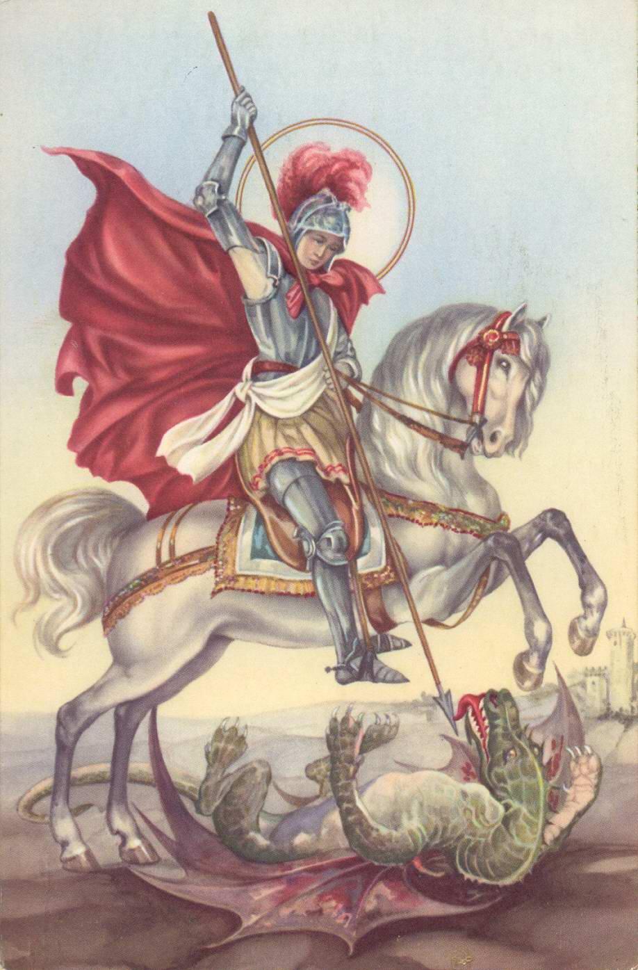 Representació de Sant Jordi matant el drac AMSFG. Col·lecció Espuña-Ibáñez (Autor desconegut)