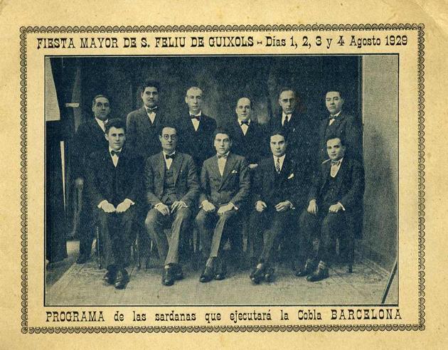 Programa del concert de sardanes de la Cobla Barcelona per a la Festa Major de l'any 1929 AMSFG. Col·lecció Joan i Jordi Ros (Autor desconegut)