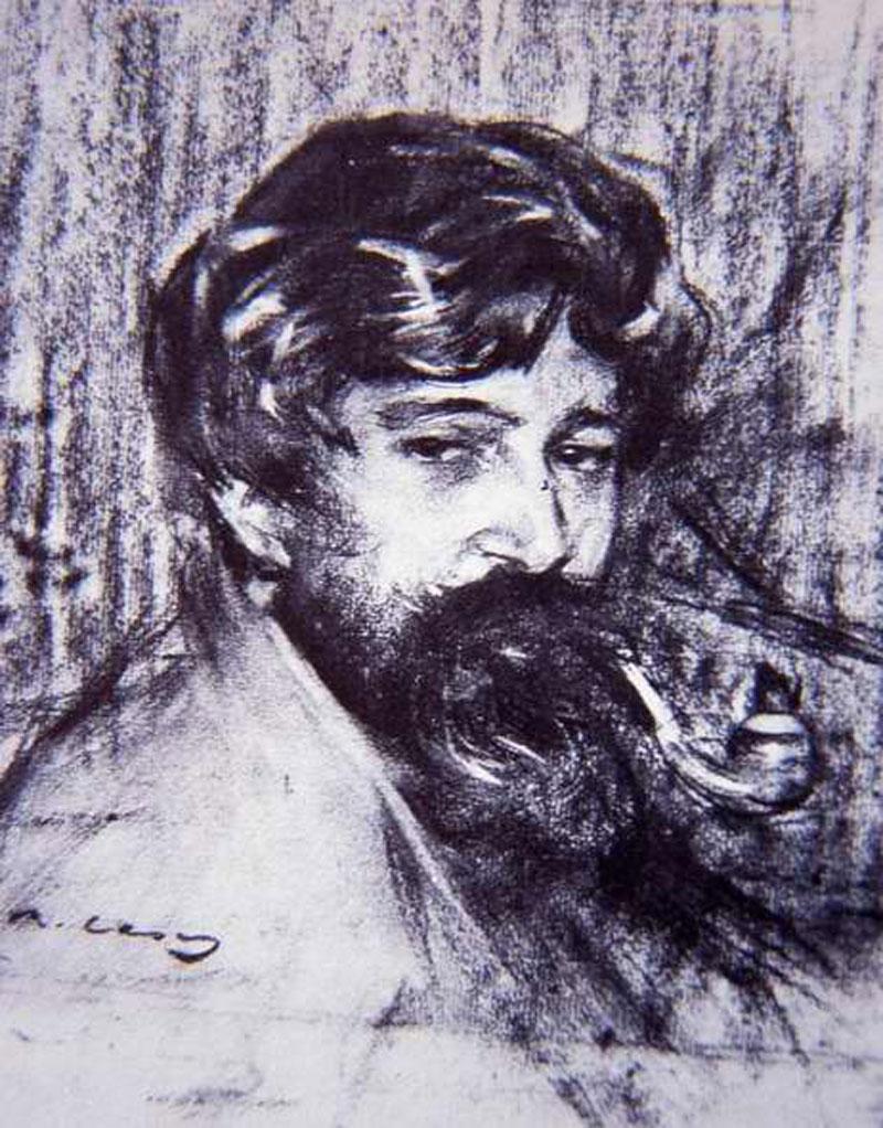 Retrat de Santiago Rusiñol i Prats, fet per Ramon Casas. AMSFG. Col·lecció Municipal d'Imatges (Reproducció d'autor desconegut)