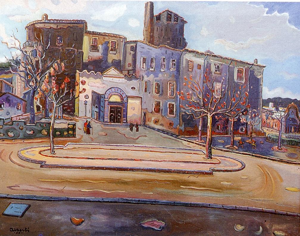 La parròquia. 1955. Oli/tela. 73 x 92 cm. Museu d'Història de la Ciutat. Sant Feliu de Guíxols.